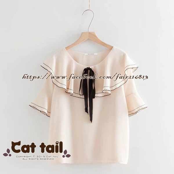 《貓尾巴》TS-0793日系甜美荷葉滾邊雪紡短袖襯衫(森林系日系棉麻文青清新)