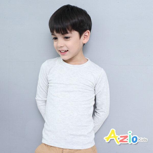 Azio Kids美國派:《美國派童裝》上衣磨毛立領基本款保暖衣(淺灰)