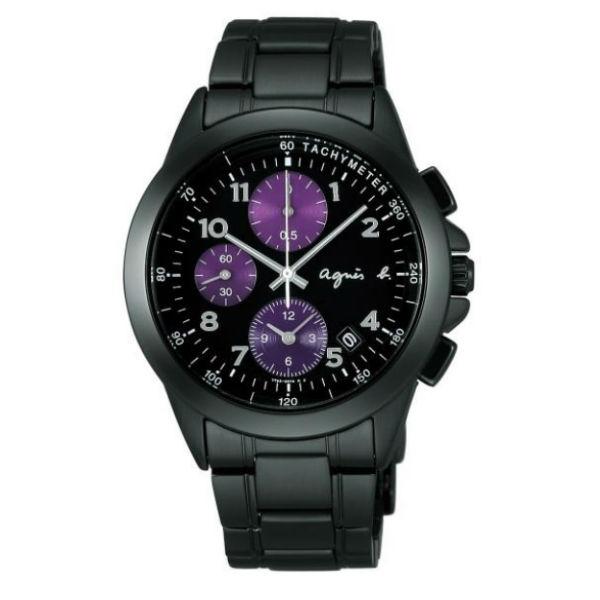 agnes b 7T92-0LY0SD(BF8317P1)運動紫三眼時尚腕錶/黑面40mm