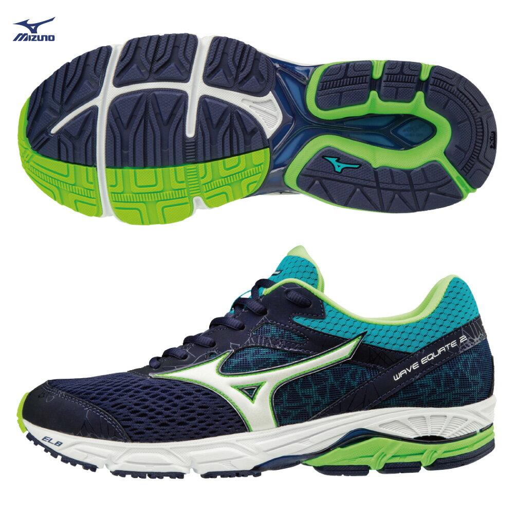 J1GC184802(丈青X白X藍綠)中低足弓適用 WAVE EQUATE2 支撐型 男慢跑鞋 S【美津濃MIZUNO】