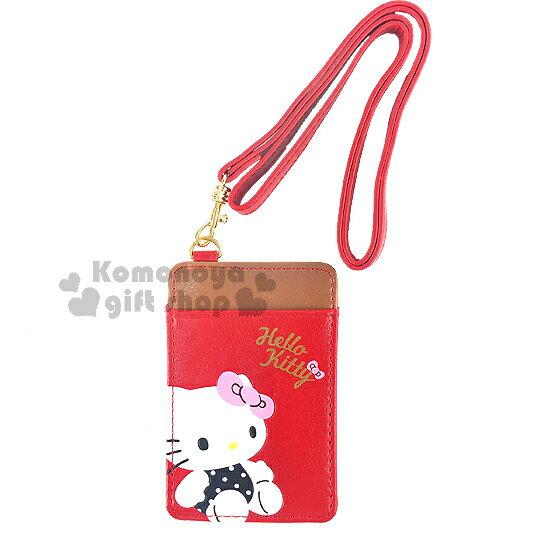 〔小禮堂〕Hello Kitty 皮革票卡夾《紅棕.坐姿.黑紫點點衣服.附掛繩》