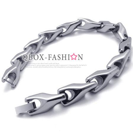 《 QBOX 》FASHION 飾品【W10020998】精緻高檔個性鑽石鏡面環扣鎢鋼手鍊/手環(限量版)