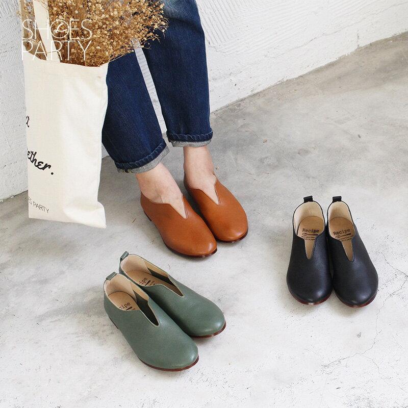預購【F2-18814L】長腿效果V口真皮便鞋-日本製_Shoes Party 0
