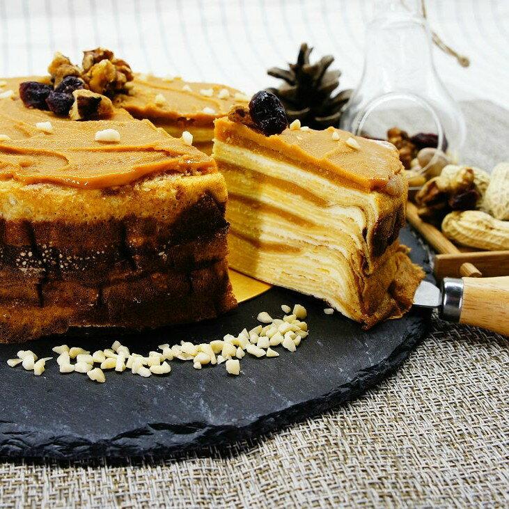 【蕉研食嚥室】花生牛奶千層蛋糕6吋甜點蛋糕
