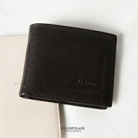 皮夾 十字線條壓紋橫式真皮二折短夾 方便收納輕鬆沒負擔 專屬配件 柒彩年代【NW427】型男風格