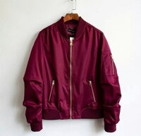 飛行外套推薦到大碼潮服《40-100公斤》飛行夾克 情侶款 男款(酒紅)  預購商品7~15日就在大碼潮服推薦飛行外套