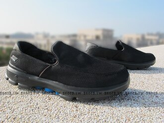 Shoestw【53852BKBL】SKECHERS 健走鞋 GO WALK3 全新Q彈底 黑藍 網布 男款