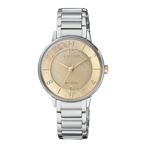 CITIZENLADY'S優雅格紋光動能腕錶EM0526-88X
