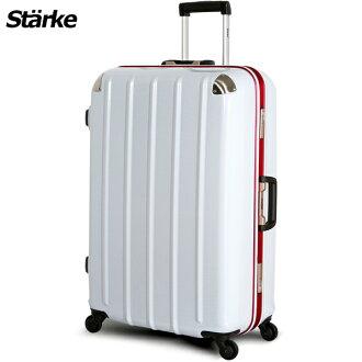 E&J【008005-01】starke 德國設計 28吋 鏡面鋁框硬殼行李箱 C-1系列 -白色紅框
