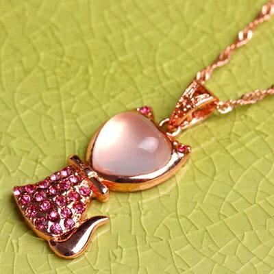 ~玫瑰金項鍊 純銀芙蓉石鑲鑽吊墜~ 精緻可愛小貓情人節生日 女飾品73fk31~ ~~米蘭
