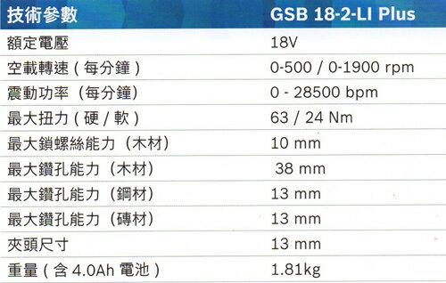 德國BOSCH 博世 充電式震動電鑽 / 起子機 GSB 18-2-LiPlus 18v 水泥 木材 鐵 鑽孔 2