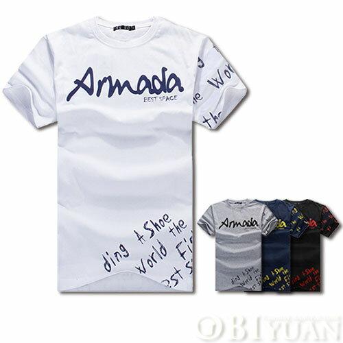 短袖上衣~JG1310 ~OBI YUAN 簡約草寫字母ARMADA印花短袖T恤共4色