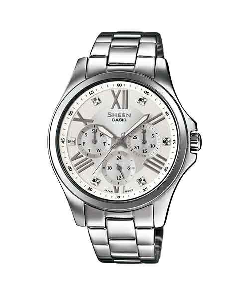 CASIO SHEEN SHE-3806D-7A點彩晶鑽時尚腕錶/白色面39mm