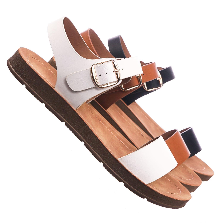 24ceedf68a92 Plenty White by Soda Soft Flexible Open Toe Flat Sandal On Lightweight Foam  Outsole 0