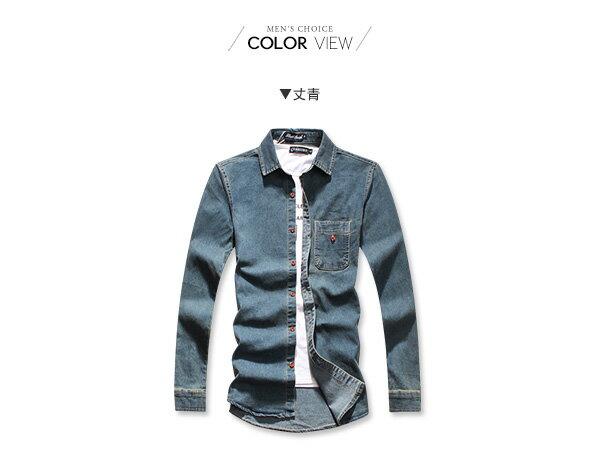 ☆BOY-2☆【NC4013】仿舊刷色牛仔長袖襯衫 1