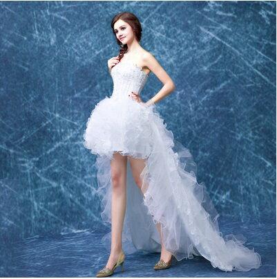 天使嫁衣【AE1156】白色束腰澎感兩穿拖尾可拆禮服˙預購訂製款