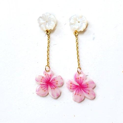 櫻花垂墜式耳環