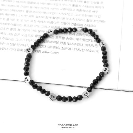 手環 小骷髏甜美閃亮黑水晶彈性手鍊 閨蜜禮物 配戴方便 俏皮趣味Q感 柒彩年代【NA367】個人魅力
