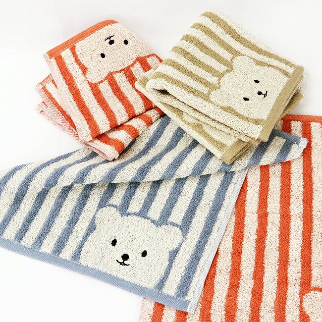 條紋彩色熊小方巾【顏色隨機出貨】