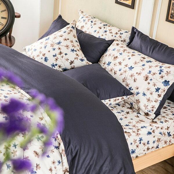 床包雙人-100%精梳棉【水墨回憶】含兩件枕套,花語系列,戀家小舖,台灣製
