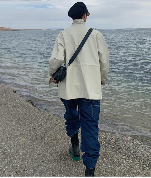 FINDSENSE X  復古時尚寬松休閑舒適百搭氣質中長款皮衣外套