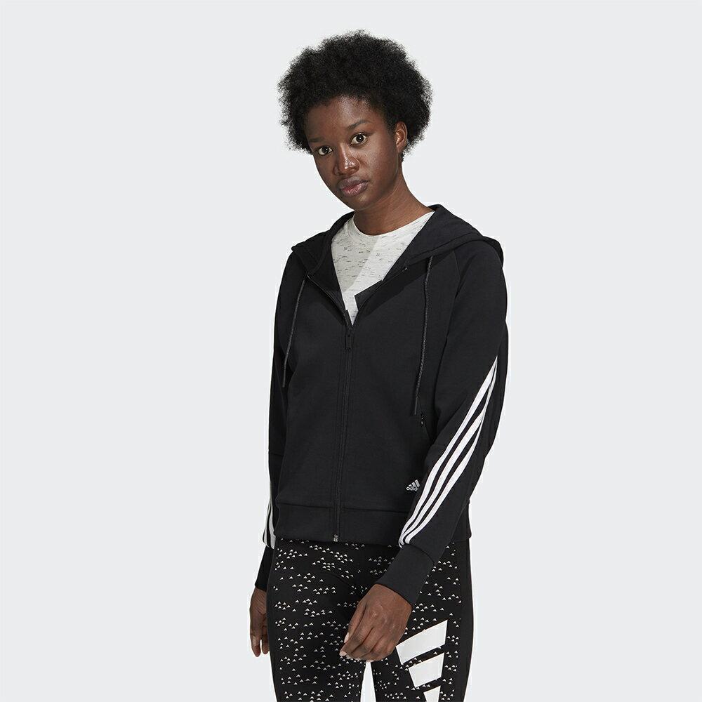 【領券最高折$400】ADIDAS 女裝 外套 連帽 訓練 三線條 LOGO 拉鍊口袋 黑【運動世界】GL0339