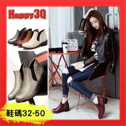 低調龐克個性簡約大尺碼小尺碼粗跟低跟圓頭鉚釘女靴馬丁靴短靴-紅/黑/黃/米32-50【AAA1159】