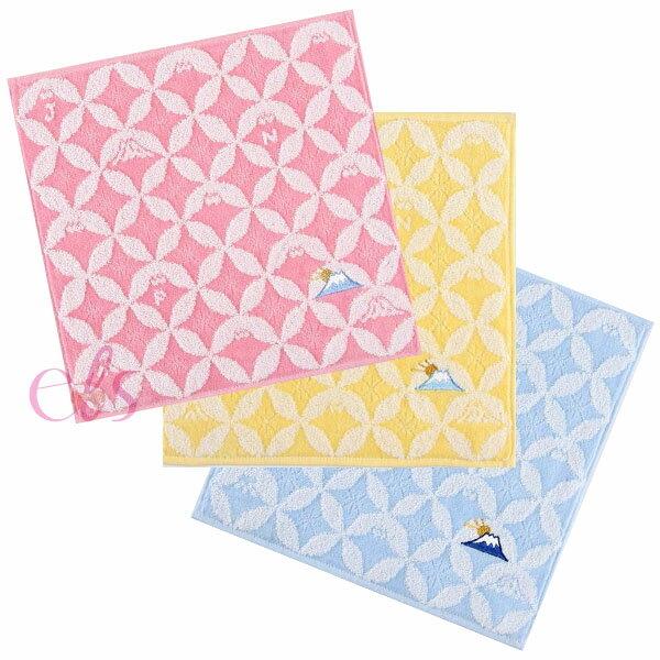 日本製 今治毛巾 小方巾 小毛巾 手帕巾 25×25CM 富士山-粉紅色/藍色/黃色 ☆艾莉莎ELS☆