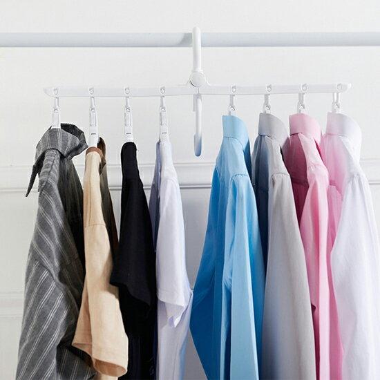 ♚MY COLOR♚多功能衣架 八個 晾衣架 防風 成人 兒童 曬衣架 多用途 掛鉤 多頭 防滑【P481】