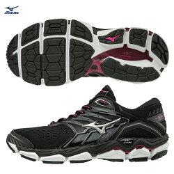 WAVE HORIZON 2 支撐型女款慢跑鞋 J1GD182605(黑X銀)【美津濃MIZUNO】