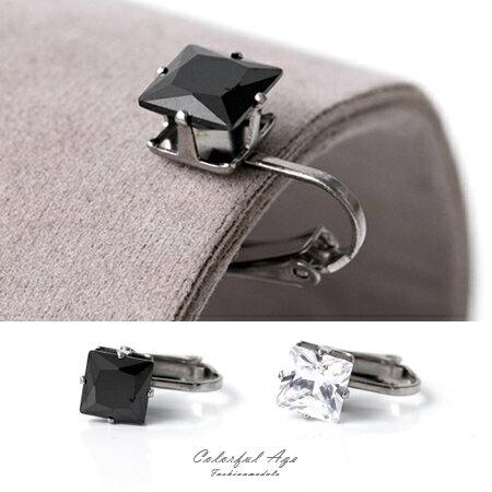 夾式耳環 閃耀動人 鋼製8MM方形奧地利水鑽耳環 抗過敏 精緻單品 柒彩年代【ND365】單支售價 - 限時優惠好康折扣