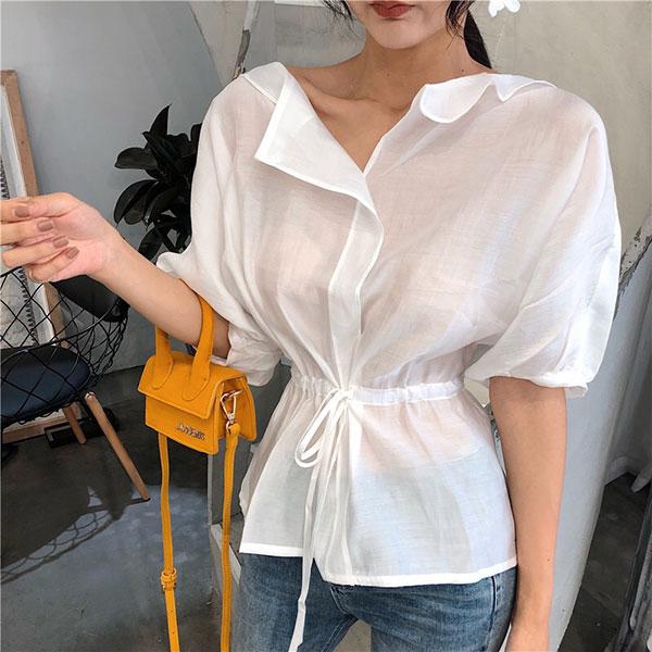 縮腰娃娃衫襯衫上衣短袖寬鬆上班族顯瘦百搭薄透氣質性感ANNAS.
