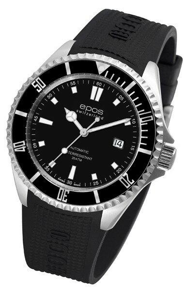 epos 愛寶時 3396.131.20.15.55 專業潛水機械腕錶/黑面44mm