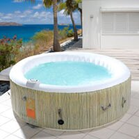 Goplus 4-6 Person Inflatable Hot Tub Outdoor Jets Portable Heated Bubble Massage Spa