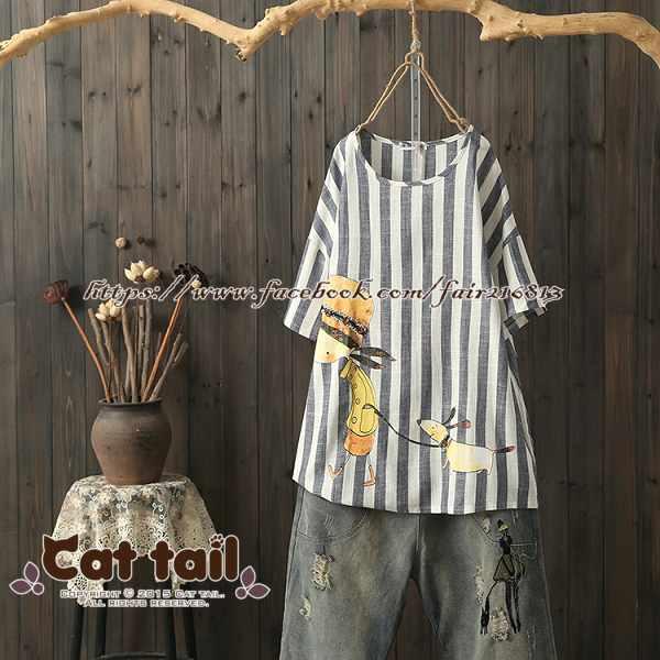 《貓尾巴》TS-0891韓版豎條紋卡通印花短袖T恤(森林系日系棉麻文青清新)