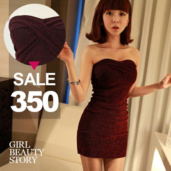 SISI~D7021~性感浪漫扭結裝飾閃金蔥平口修身顯瘦包臀露背連身裙晚禮服洋裝