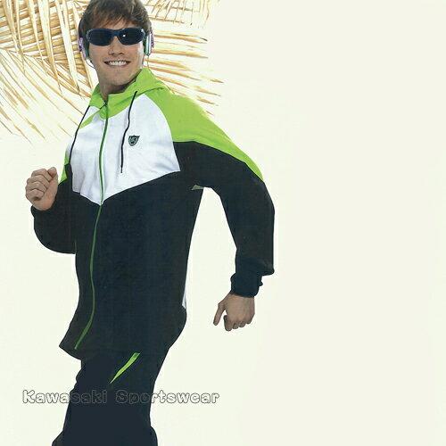 【日本Kawasaki】男版針織吸濕排汗單層連帽運動服套裝(全套-黑綠)#K215AB - 限時優惠好康折扣