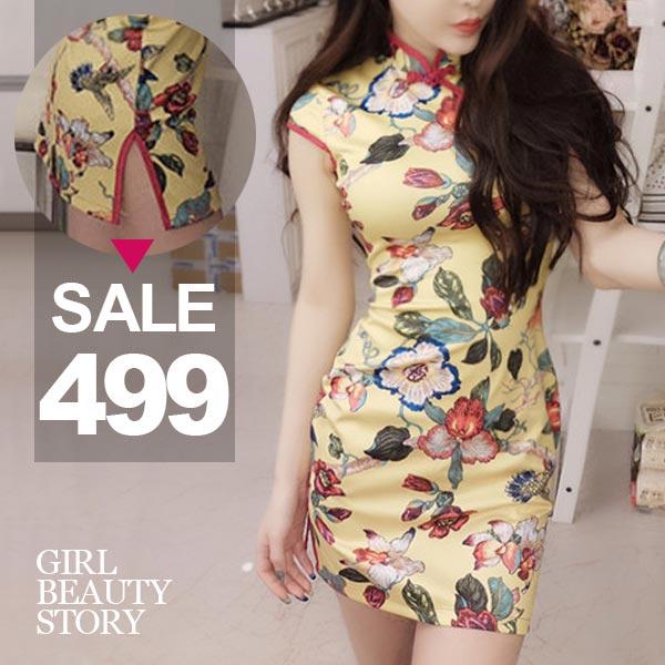 SISI【D8004】氣質花繪印花滾邊無袖顯曲線包臀開叉改良式旗袍連身裙洋裝