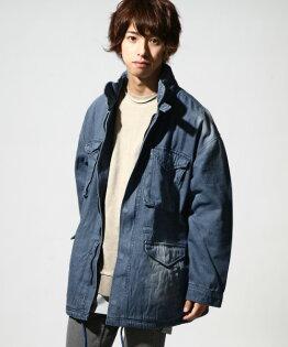 M-65軍風長大衣BLUE