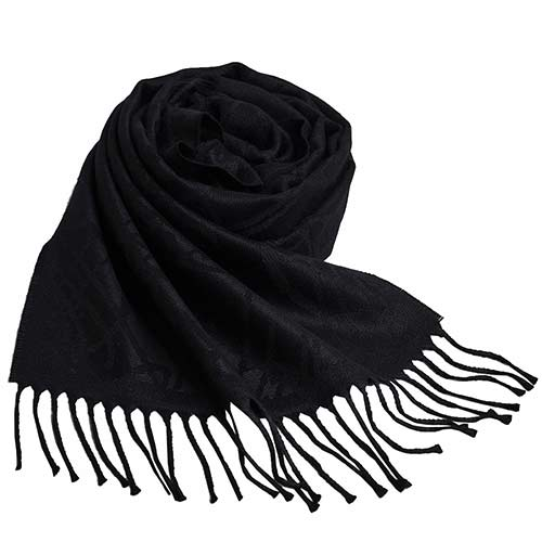 Vivienne Westwood 行星LOGO恆星圖騰風格寬版圍巾/披肩(黑)
