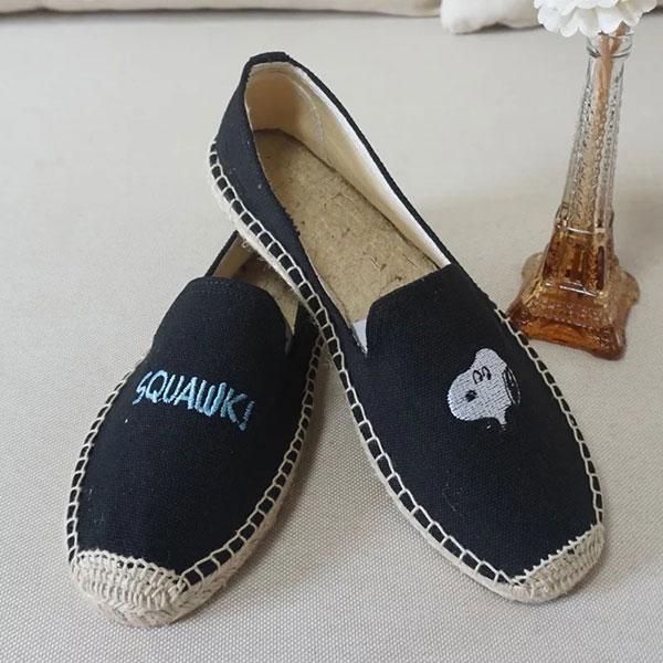黑 snoopy 草編鞋 平底鞋 包頭鞋 便鞋 小白鞋 編織鞋 帆布鞋 懶人鞋 休閒鞋 歐美日韓 史奴比 史努比 ANNA S.