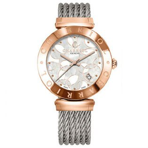 CHARRIOL夏利豪(AMP51A008)玫瑰金經典鋼索腕錶珍珠母貝面34mm