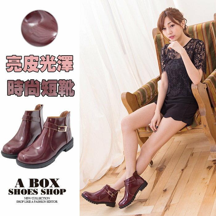 【AA6789】MIT台灣製 韓版時尚光澤亮皮 金屬扣環 後拉鍊好穿拖 粗低跟短靴 酒紅