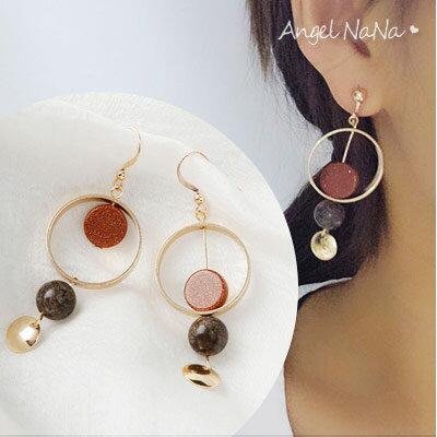 AngelNaNa:耳環《可改夾式》《可改S925銀針》復古金沙圈圈耳鈎【RA0055】