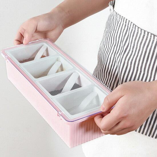♚MYCOLOR♚翻蓋式調味盒(四格)附勺廚房套裝多格長方形調料罐鹽巴盒糖盒佐料盒佐料附勺味精烘焙【B13-2】