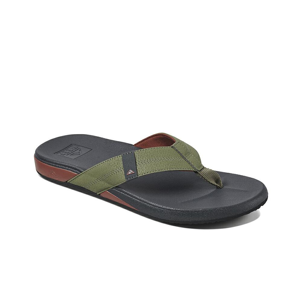 【新品上市】REEF 能量彈力 側邊縫製織帶 男款夾腳人字拖鞋 . 綠 / 紅 RF0A3FDIORE 1