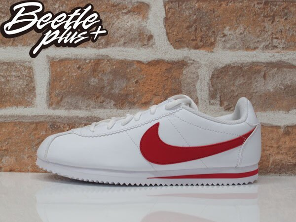 女生 BEETLE PLUS 現貨 NIKE CORTEZ (GS) 阿甘鞋 慢跑鞋 全白紅勾 白紅 復古 749482-103 D-586 0