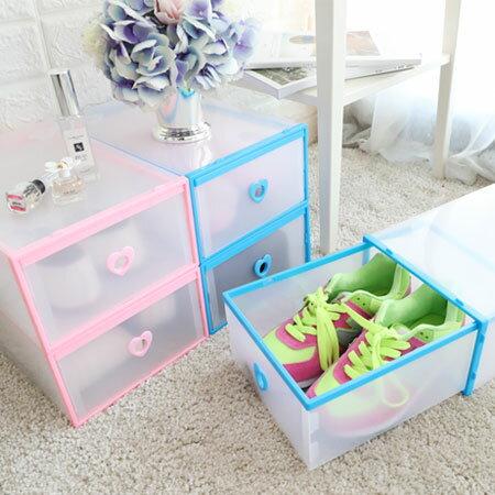 抽屜式 透明愛心鞋子收納盒 單個 鞋子收納盒 抽屜鞋盒 鞋盒 DIY組裝 組合鞋櫃 透明鞋盒 鞋櫃【N202841】