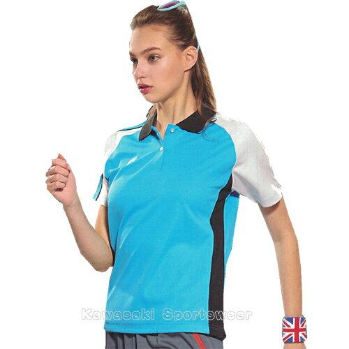 【日本Kawasaki】女版運動休閒吸濕排汗短POLO衫-天藍#KW2238A1(排汗衫)