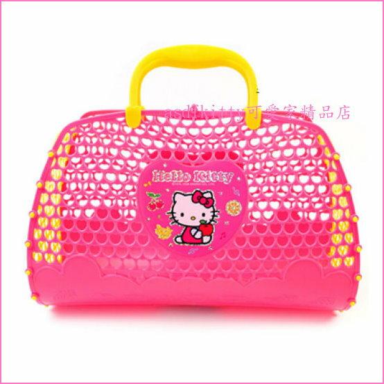 asdfkitty可愛家☆KITTY紅蘋果手提籃/寵物籃/玩具籃-可收放娃娃.玩具-韓國製